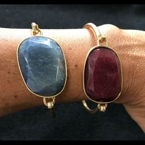 Jewelry - Gold tone bangles w/ cranberry or sky blue stones
